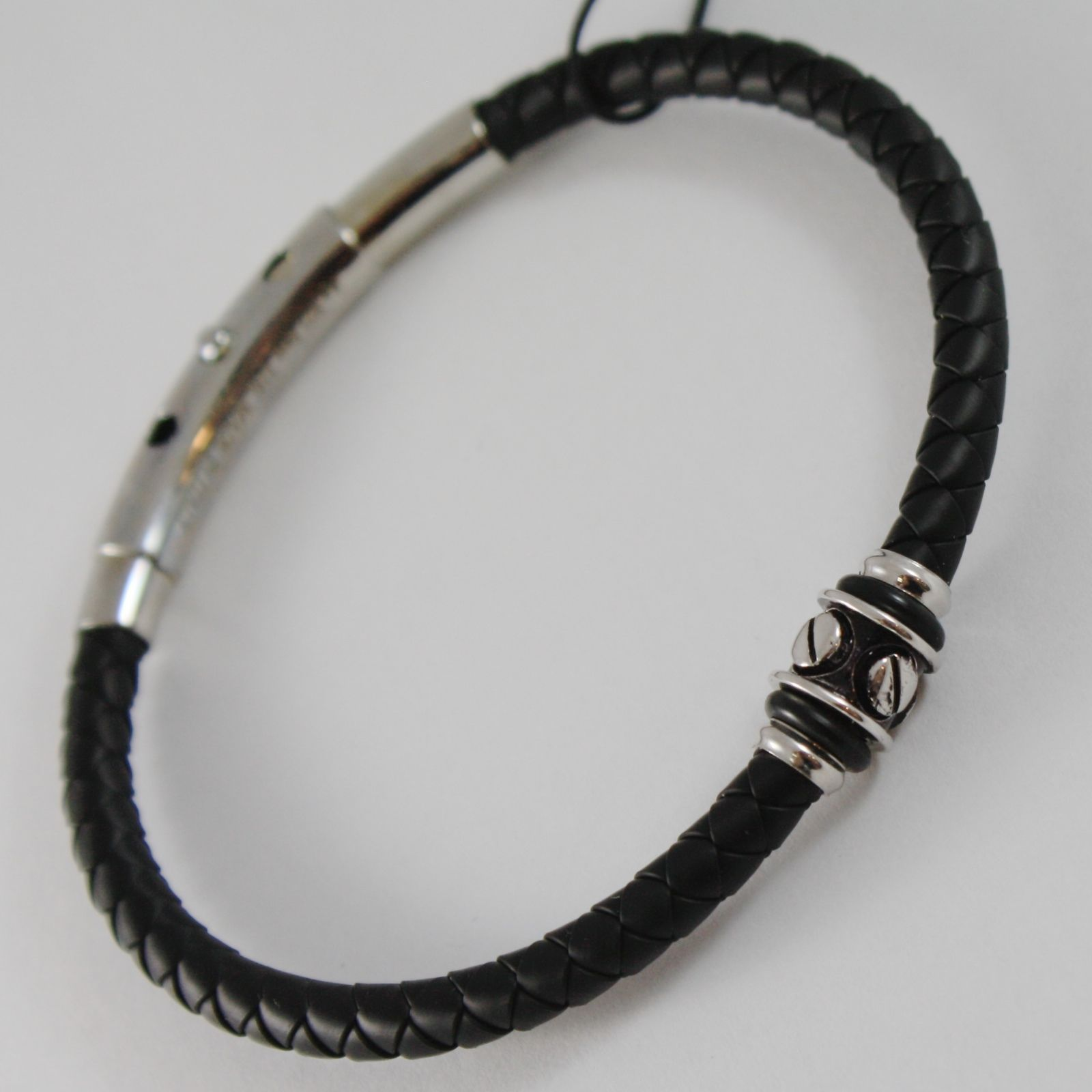 925 SILVER ZANCAN BRACELET BLACK WOVEN LEATHER, STUDDED CYLINDER MADE IN ITALY