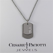 925 SILVER AND STEEL NECKLACE MILITARY PLATE BY CESARE PACIOTTI JPCL1250B 25 INC image 2