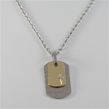 925 SILVER AND STEEL NECKLACE MILITARY PLATE BY CESARE PACIOTTI JPCL1252B - $104.50