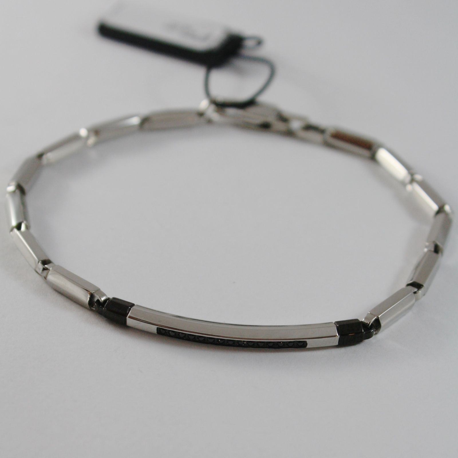 STAINLESS STEEL ZANCAN BRACELET, ROUND TUBE MESH PLATE AND BLACK CUBIC ZIRCONIA