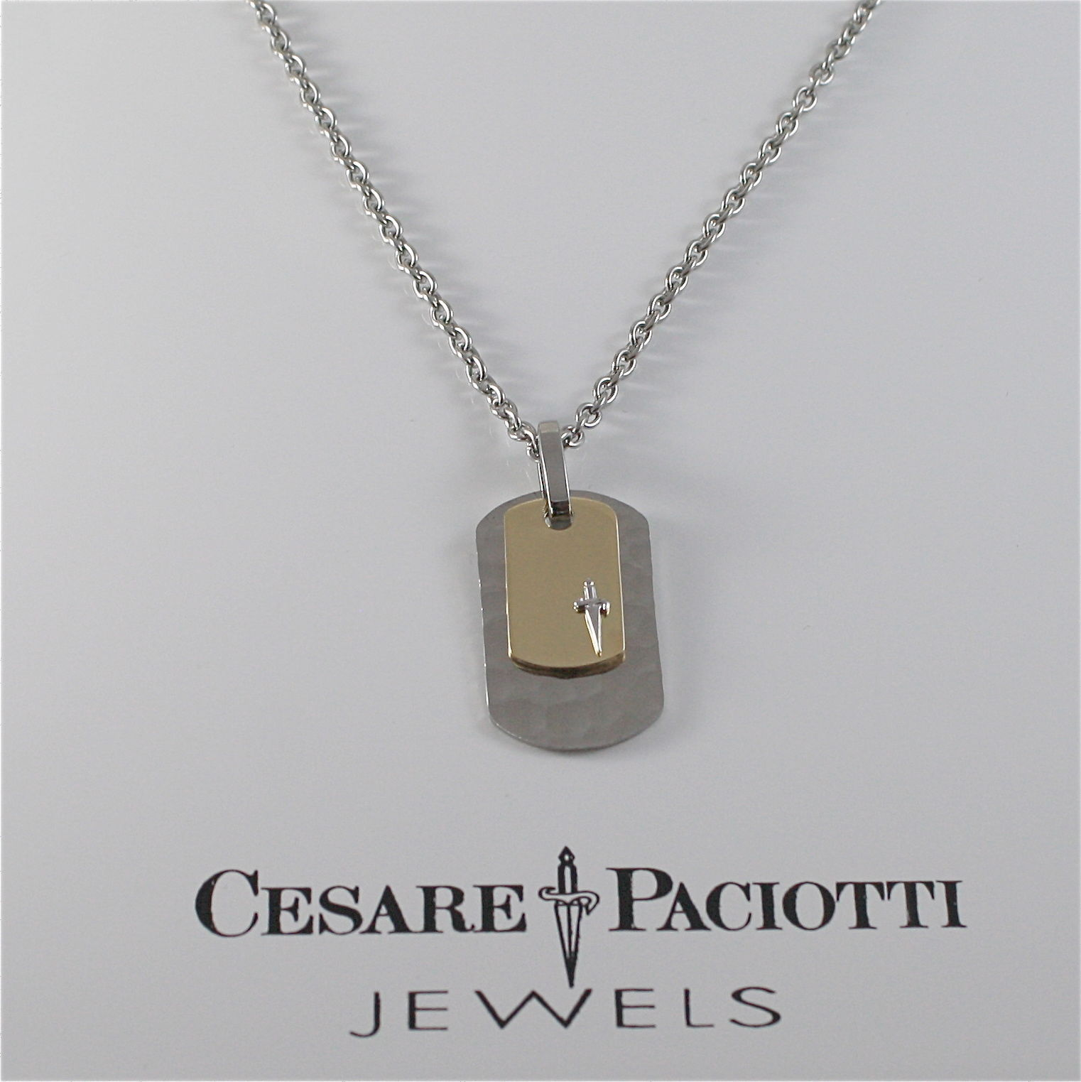 925 SILVER AND STEEL NECKLACE MILITARY PLATE BY CESARE PACIOTTI JPCL1252B