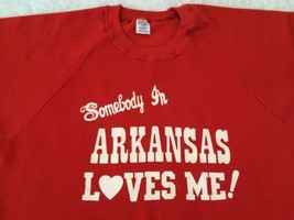 Vtg Somebody in Arkansas Loves Me Sweatshirt Large Jerzees Razorbacks - $50.48 CAD