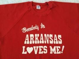 Vtg Somebody in Arkansas Loves Me Sweatshirt Large Jerzees Razorbacks - $51.28 CAD