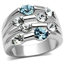 MJS SILVER TONE AQUAMARINE BLUE & CLEAR CRYSTAL WIDE BAND FASHION RING S... - $14.99