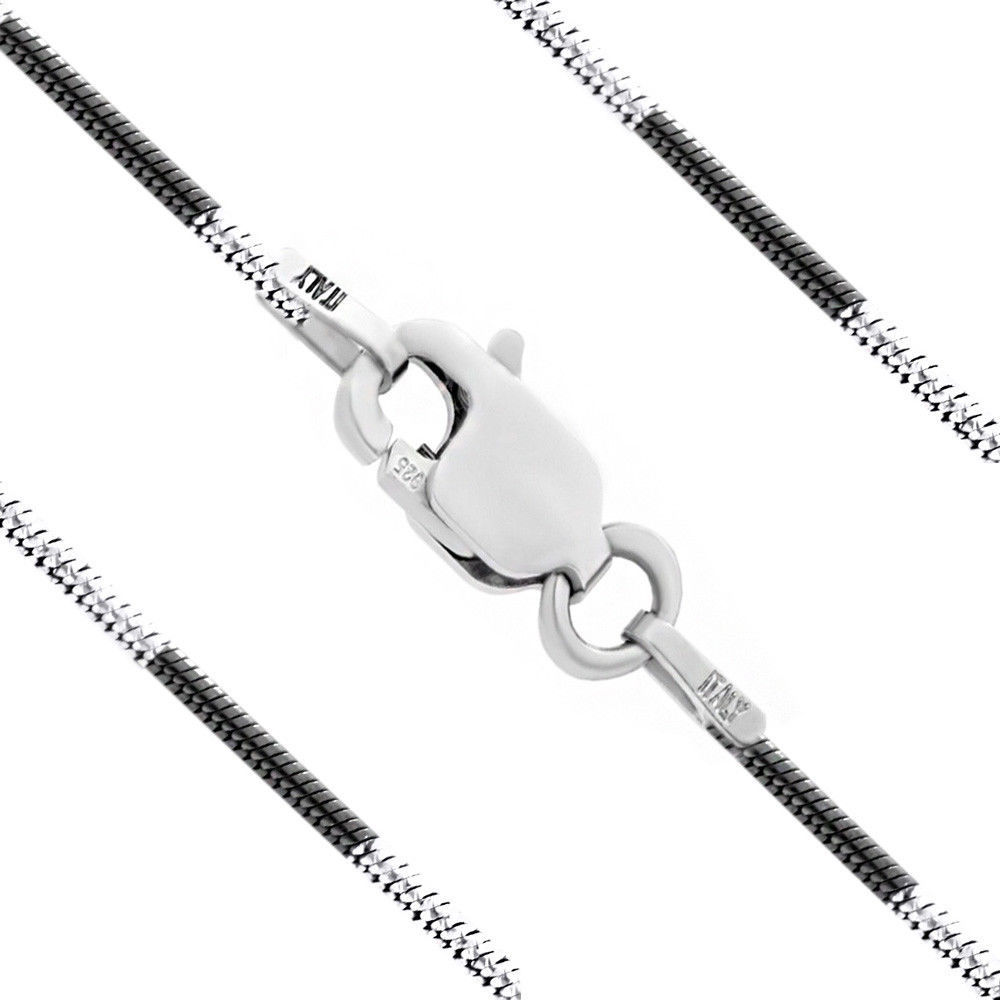 Men/Women's 1mm Solid Black Rhodium Plated 925 Silver Snake Link Italian Chain