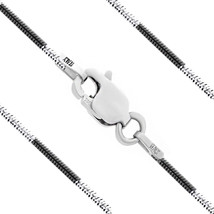 Men/Women's 1mm Solid Black Rhodium Plated 925 Silver Snake Link Italian... - $23.67+