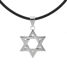 Ruber Cord Silver tone Stainless Steel Jewish Star of David Charm Pendan... - $14.77
