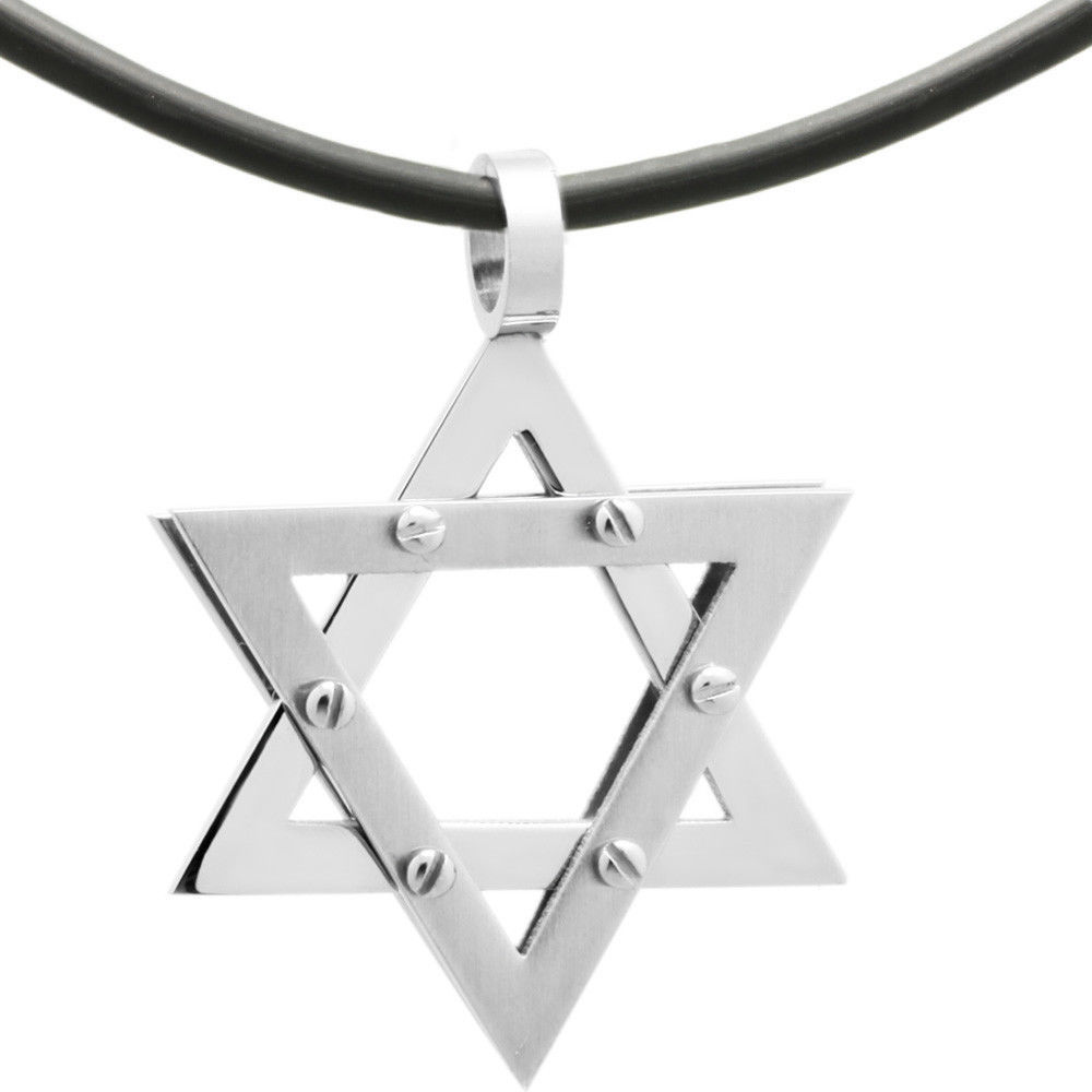Rubber Cord/ Stainless Steel Star of David Judaica Jewish Charm Pendant Necklace