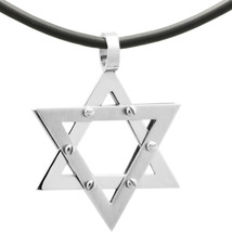 Rubber Cord/ Stainless Steel Star of David Judaica Jewish Charm Pendant ... - $16.34+