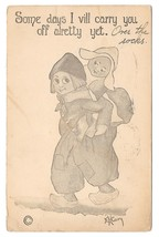 Dutch Kids Artist E H Cary Boy Carrying Girl on His Back Vintage 1910 Po... - $4.99