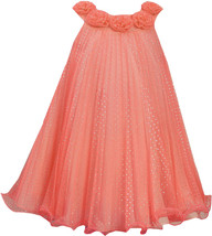 Little Girls 2T-6X Coral Silver Glitter Dot Crystal Pleat Trapeze Social Dress