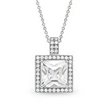 Women's 14k WG Plated 925 Silver Princess Cut Micro Pave Halo Chain Necklace - $46.49+