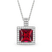Women's 14k WG Covered 925 Silver Princess Cut Micro Pave Ruby Halo Necklace - $56.83+
