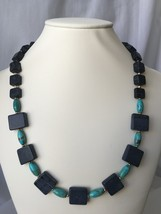 Turquoise and Blackstone Beaded Necklace with Gold Accents - $45.00