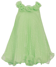 Little Girl 2T-6X Lime Silver Glitter Dot Crystal Pleat Trapeze Social Dress
