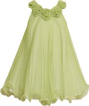 Little Girls 2T-6X Green White Flock Dot Crystal Pleat Trapeze Social Dress