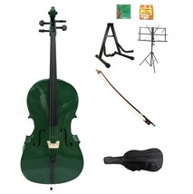 Merano 3/4 Size Green Cello with Bag and Bow+Extra Strings+2 Stands+Tune... - $309.99