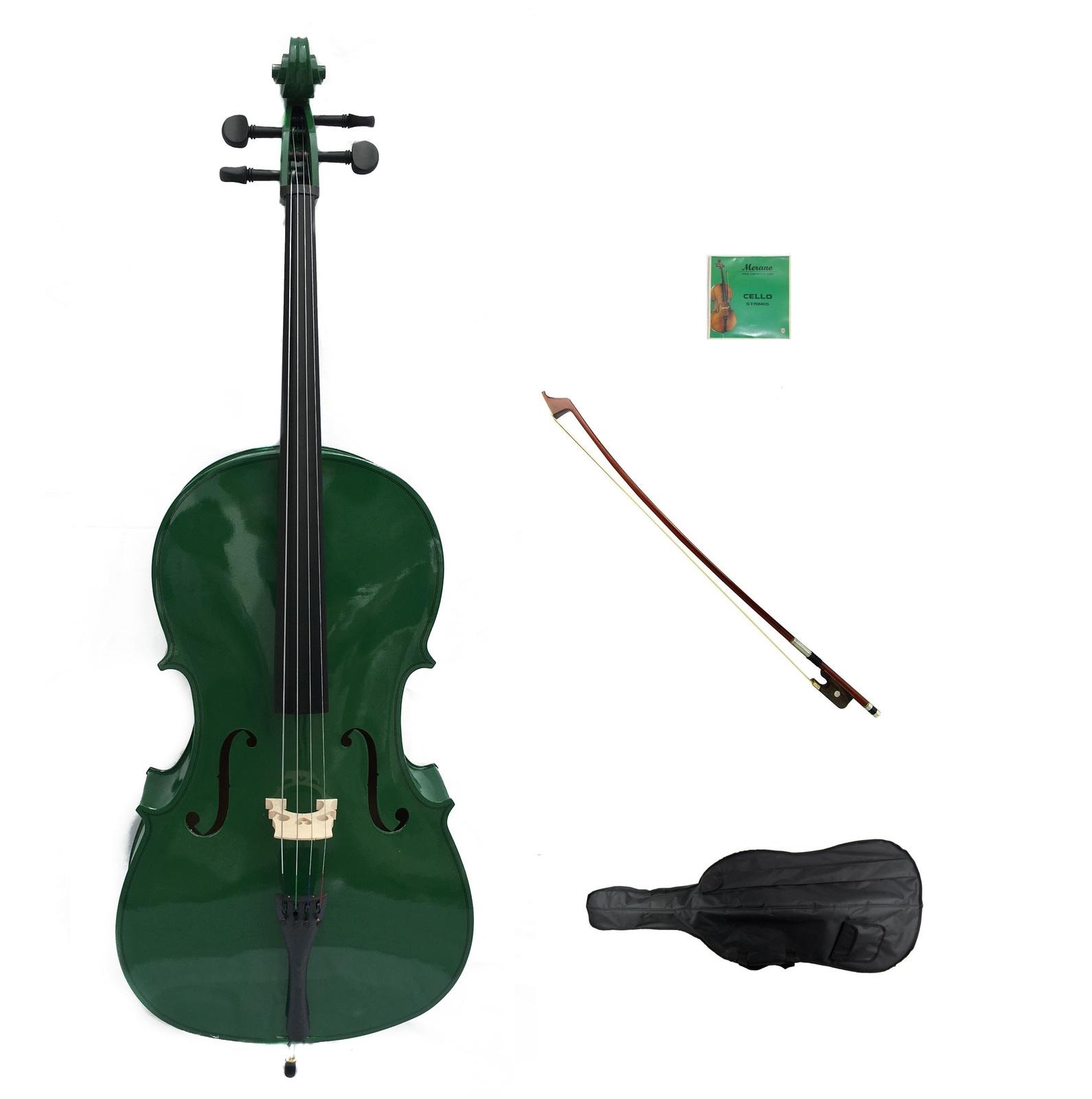 Merano 4/4 Size GREEN Cello,Hard Case,Soft Bag,Bow,Strings,Rosin,Cello Stand