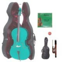 Merano 1/4 Size GREEN Cello with Hard Case,Soft Bag,Bow,2 Sets of Strings - $269.00
