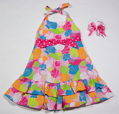 Primary image for BONNIE JEAN GIRLS 3T PINK BEACH SEASHELLS HALTER DRESS & COPPER KEY HAIRBOW