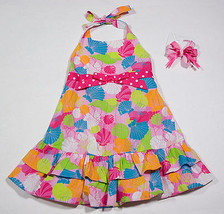 BONNIE JEAN GIRLS 3T PINK BEACH SEASHELLS HALTER DRESS & COPPER KEY HAIRBOW - $12.61