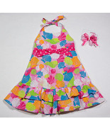 BONNIE JEAN GIRLS 3T PINK BEACH SEASHELLS HALTER DRESS & COPPER KEY HAIRBOW - $12.61
