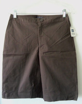 GAP Women's Stretch Cotton Walking Shorts, Flat Front, Brown, Solid, Sz 4, NWT - $25.51