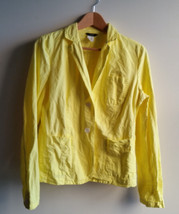 J Crew Women's Linen Cotton Blazer Jacket, Unlined, Yellow, Solid, Size 8 - $38.47
