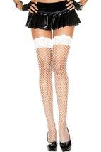 Lace Top Spandex Mini Diamond Net Thigh Hi- White - $18.71