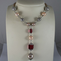 .925 RHODIUM SILVER NECKLACE WITH CREAM AND BROWN PEARLS AND RED CRYSTALS image 1