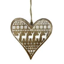 "Kaemingk 8.5"" Alpine Chic Heart Reindeer Snowflake Motif Christmas Ornament - $11.62"
