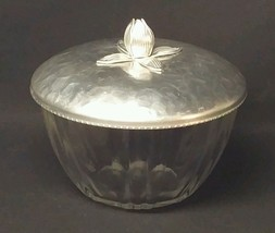 Depression Glass Aluminum Topped Trinket Box - $10.88