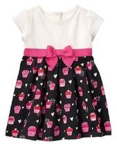 Gymboree Cozy Valentine 4T Cupcake Heart Print Ponte Dress Pink Bow NWT - $14.95