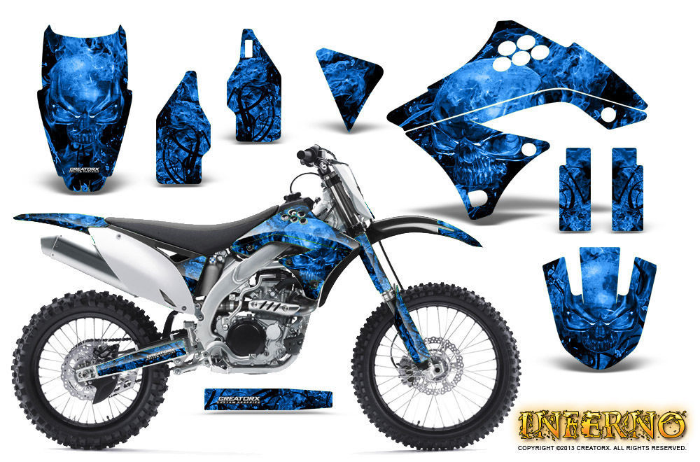 Primary image for KAWASAKI KXF450 KX450F 09-11 GRAPHICS KIT CREATORX DECALS INFERNO BL