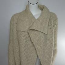 Ann Taylor Loft Wool Rabbit S Open Front Cardigan Sweater Chunky Knit Oatmeal - $36.40