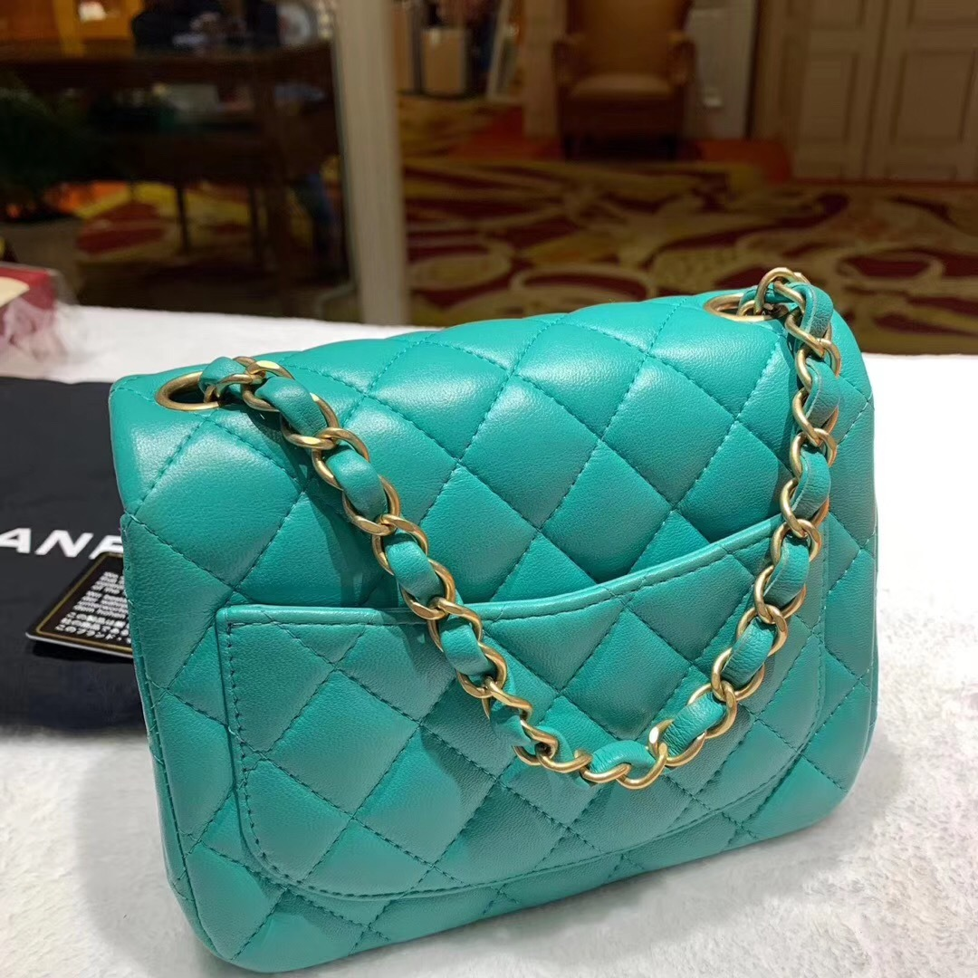 RARE AUTH NEW CHANEL 2019 TURQUOISE LAMBSKIN SQUARE  MINI FLAP BAG MATTE GHW