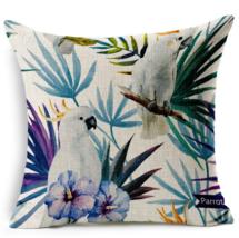 Hand Printed Parrot Peacock Home Decor Pillow,D... - $17.00