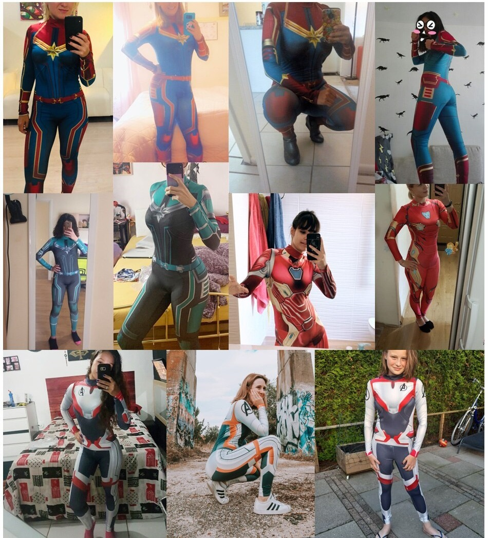 Women's Captain Marvel Cosplay Halloween Party Costume Jumpsuit Catsuit Avengers