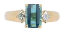 14k Gold 1.64ct Blue-Green Genuine Natural Tourmaline Ring with Diamonds #J4056 - $1,230.25