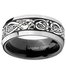 Celtic Dragon 8mm Black 2 Tone Beveled Tungsten Carbide Ring - $43.99