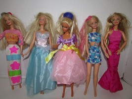 LOT OF 5 MATTEL BARBIE DOLLS W/CLOTHING TAGGED PARTY DRESSES MOD SKIRT L... - $7.95