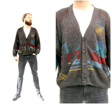 Knitted Grey Abstract Cardigan Button Down V-Neck Men Sweater M L - $39.90