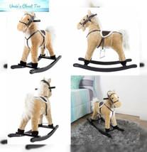 Rocking Horse Plush Animal on Wooden Rockers with Sounds, Stirrups, Sadd... - $45.16