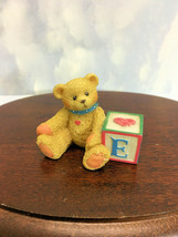 Cherished Teddies Bear With ABC E Alpha Letter Block Dark Paint 1995 Usd No Box - $20.74