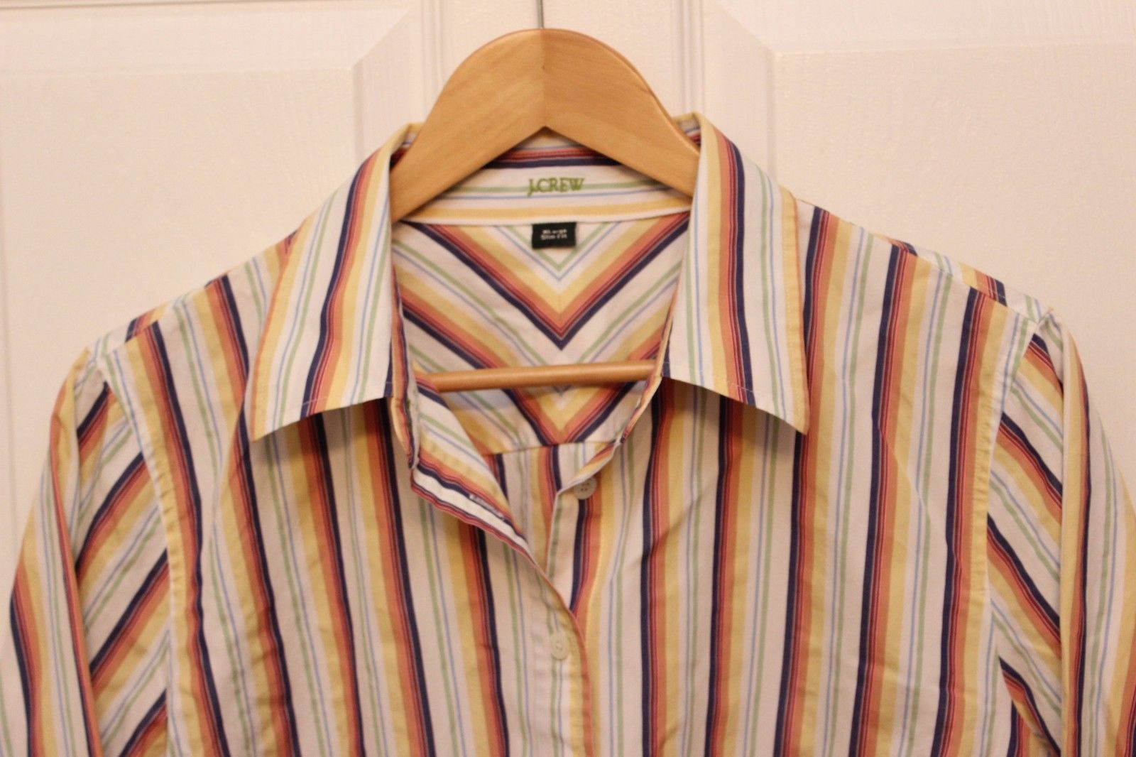 JCREW Shirt SLIM FIT Womens XL Button Down Blouse ROYGB Striped Cotton