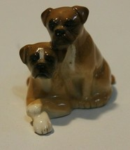 "Vintage? Beswick England Pair of Boxer Dog Pups Figurine Brown & White 2"" - $23.50"