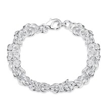 "Sterling Silver Color Charm Rolo Bracelet Triple Long Link Chain 8"" DI - $34.70"
