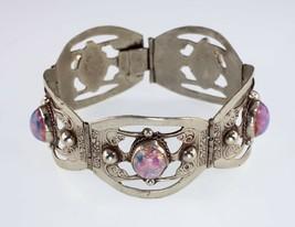 Vintage Taxco Mexico Feu Verre Argent Sterling Bracelet - $170.81