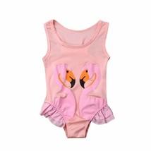 1-6Y Cute Kids Baby Girls Swimwear Flamingos Printed Sleeveless Strap Be... - $8.49