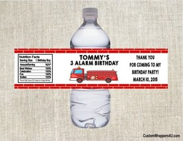 Fire Truck Engine Birthday Party Favors Water Bottle Labels Personalized... - $3.96+